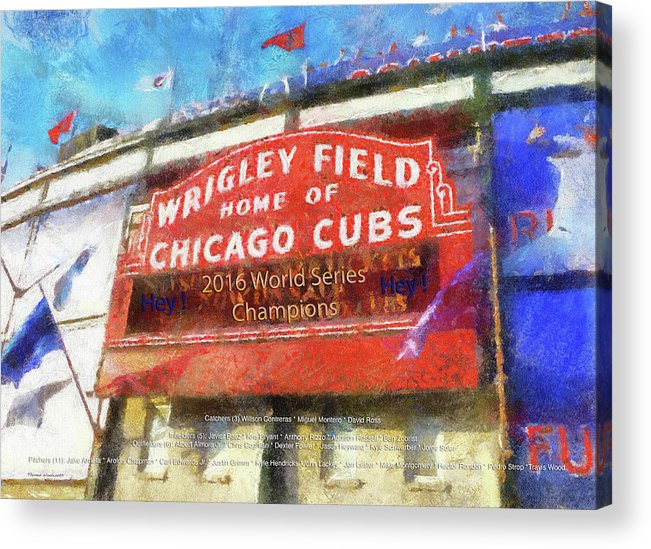 2eb7d137d9 Chicago Cubs Acrylic Print featuring the photograph Chicago Cubs World  Series Marquee Photo Art by Thomas
