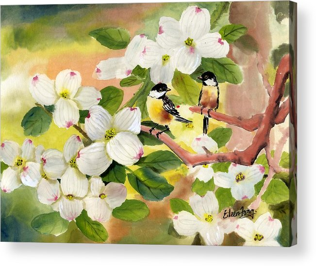 Chickadees Acrylic Print featuring the painting Chickadees In The Dogwood Tree by Eileen Fong