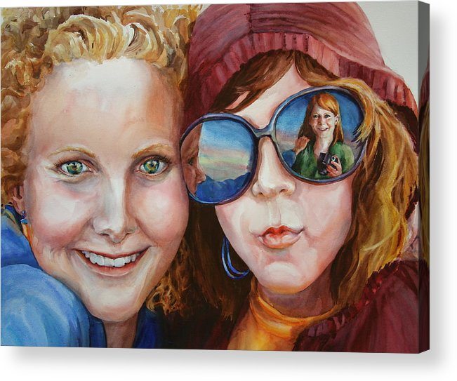 Portrait Acrylic Print featuring the painting Circle Of Sisters by Carolyn Epperly