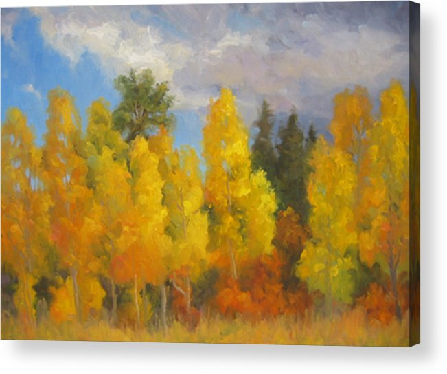 Landscape Acrylic Print featuring the painting Clouds Of October by Bunny Oliver
