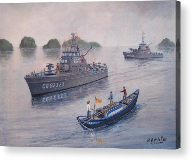Marine Art Acrylic Print featuring the painting Coast Guard Cutters Pt Hudson And Pt Grace In Vietnam by William H RaVell III