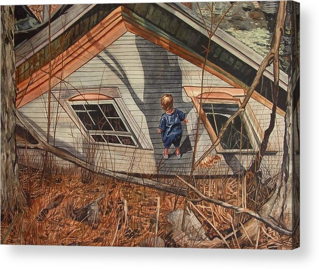 Children Acrylic Print featuring the painting Collapsed by Valerie Patterson