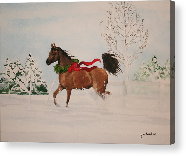 Horse Acrylic Print featuring the painting Dashing Thru The Snow by Jean Blackmer