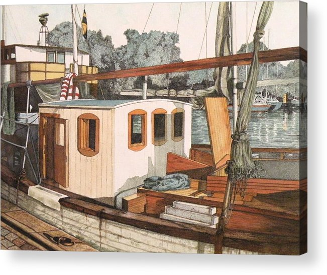 Boat Acrylic Print featuring the mixed media Docked In Stockholm Harbor by Wendy Hill
