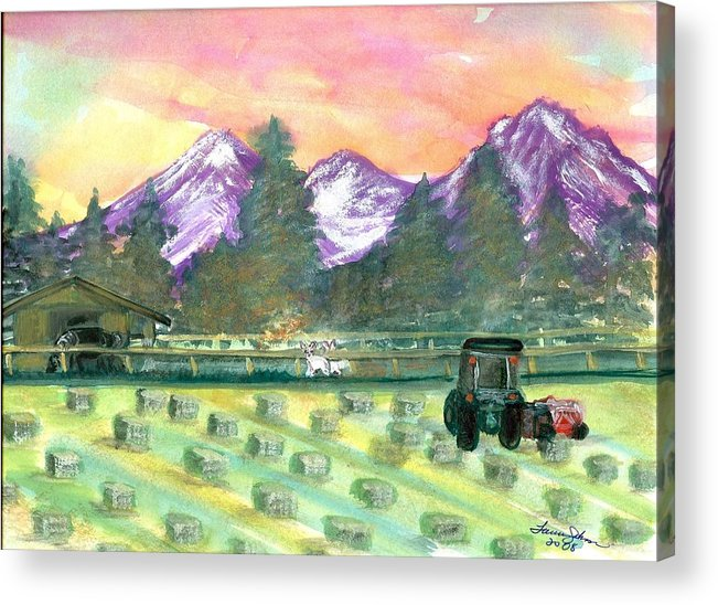 Farmscape Acrylic Print featuring the painting Down On The Farm by Laura Johnson
