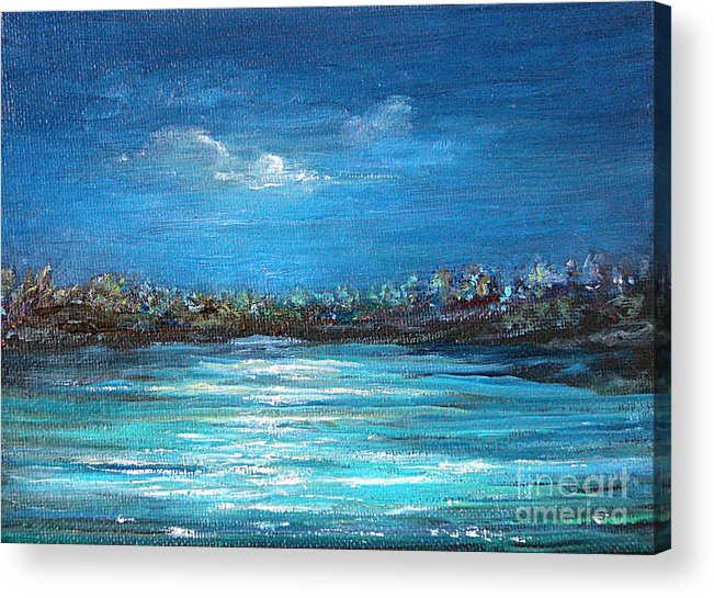 Seascape Acrylic Print featuring the painting Dream Night by Jeannette Ulrich