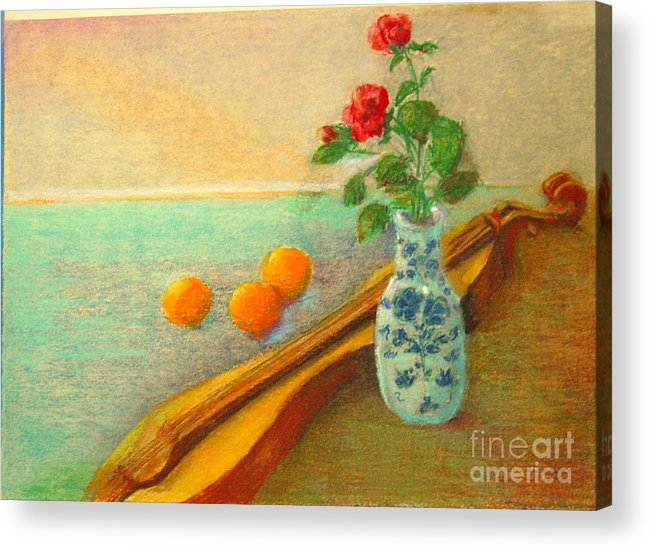 Still Life Acrylic Print featuring the painting Dulcimer And Delft    Copyrighted by Kathleen Hoekstra