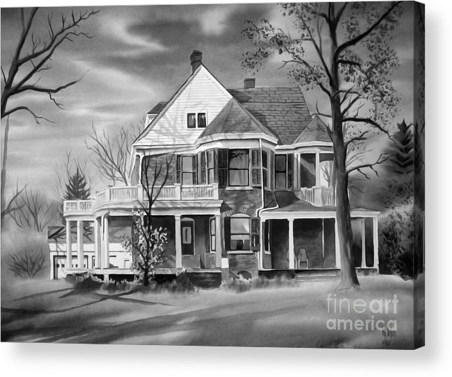 Grayscale Acrylic Print featuring the painting Edgar Home Bw by Kip DeVore