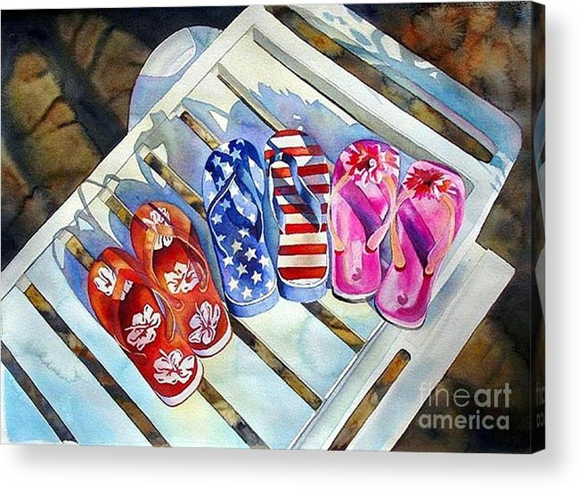 Flip Flops/chaise Lounge Acrylic Print featuring the painting End Of Summer by Gail Zavala