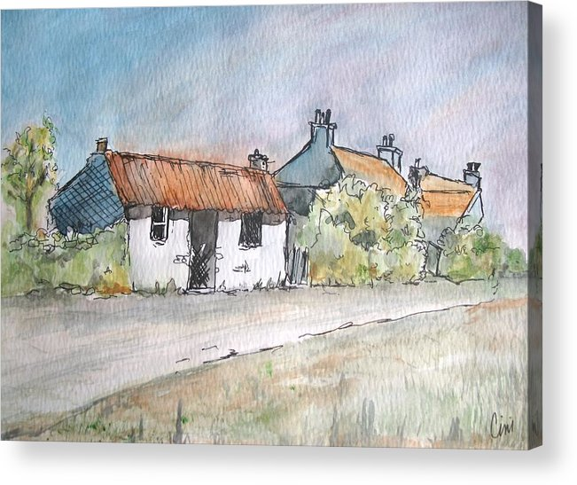 Old Acrylic Print featuring the painting English Cottage by Lisa Cini