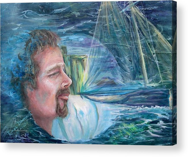 Seascape Acrylic Print featuring the painting Envisioned Voyage by Renee Dumont Museum Quality Oil Paintings Dumont
