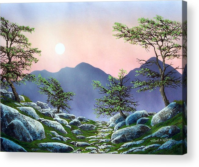 Evening Moonrise Acrylic Print featuring the painting Evening Moonrise by Frank Wilson