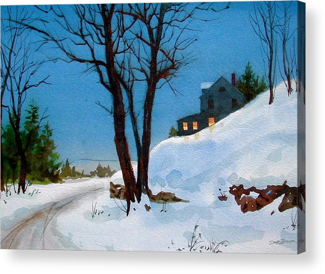 Snow Acrylic Print featuring the painting Evening Snow by Faye Ziegler