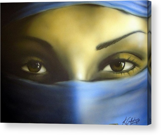 Eyes Portrait Airbrush Acrylic Print featuring the painting Eyes by Kevin Gallagher