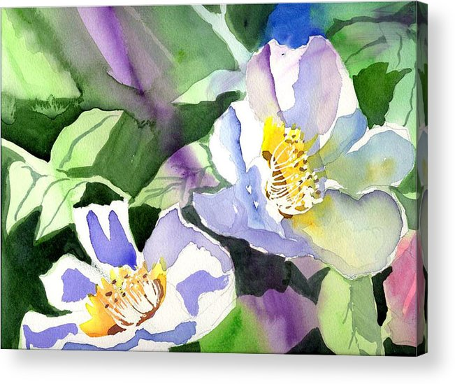Floral Acrylic Print featuring the painting Fancy Flowers by Janet Doggett