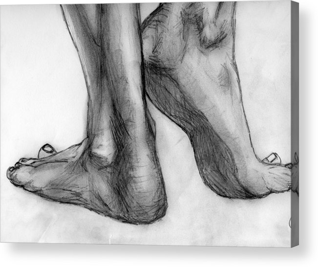 Pencil Acrylic Print featuring the drawing Feet by Angelica -Gel Studios