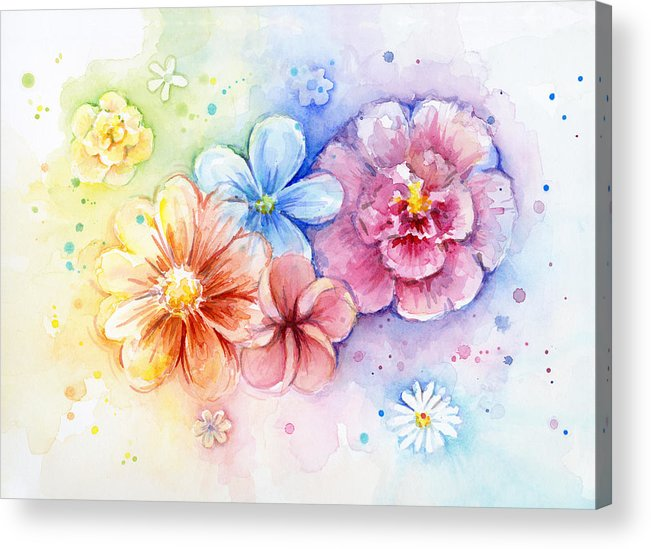 Flower Acrylic Print featuring the painting Flower Power Watercolor by Olga Shvartsur