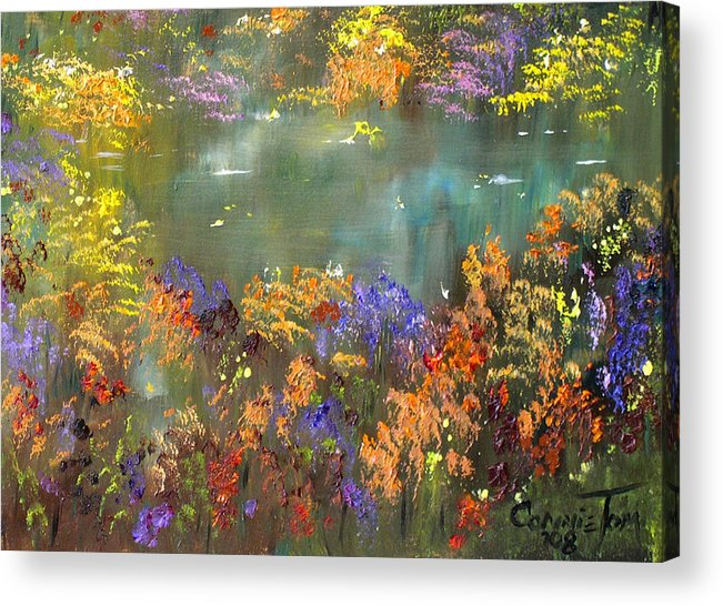Connie Tom Acrylic Print featuring the painting Flowers And Grasses IIi by Connie Tom