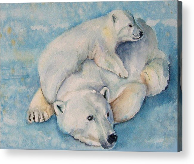 Polar Bears Acrylic Print featuring the painting Frosty Baby by Gina Hall