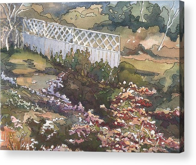 Landscape Acrylic Print featuring the painting Garden Fence by Robynne Hardison