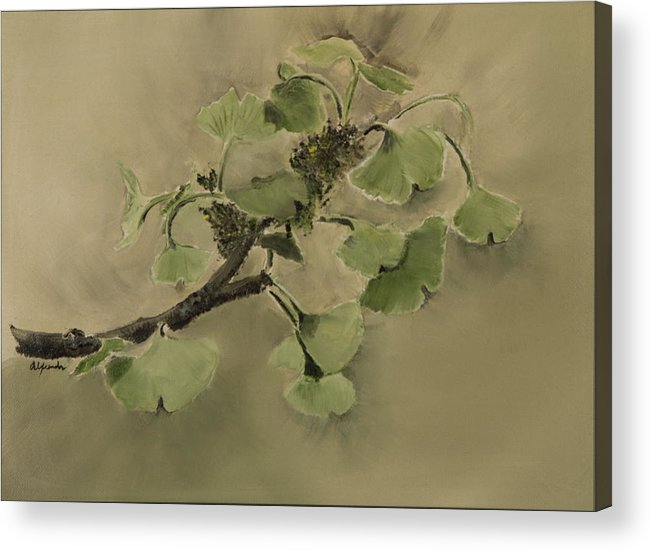 Gingko Branch And Leaves Acrylic Print featuring the painting Gingko Branch by Rhonda Alexander