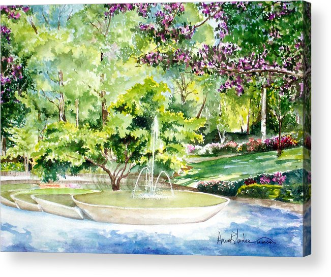Fountain Acrylic Print featuring the painting Glencairn Fountain by Anne Rhodes