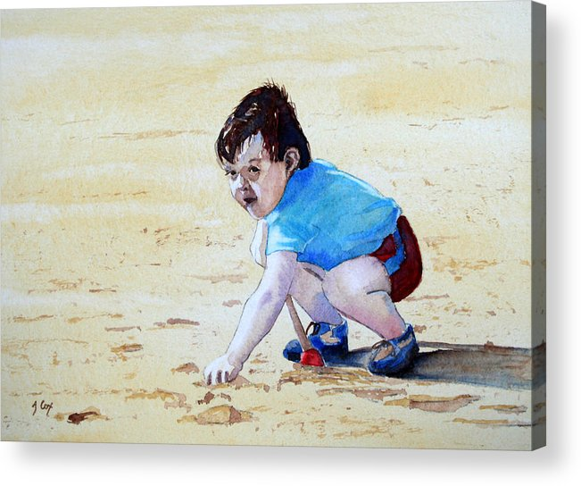 Figure. Boy. Sand. Beach. Play. Child. Digging. Acrylic Print featuring the painting Graham On The Sand by John Cox