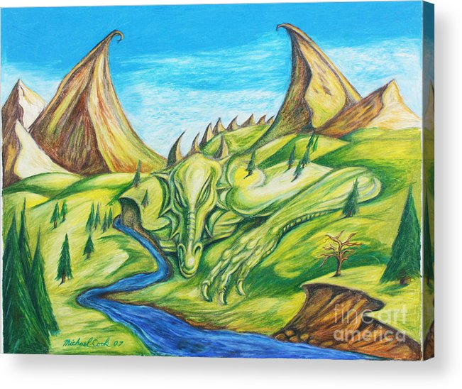 Dragons Landscapes Acrylic Print featuring the drawing River Rage by Michael Cook