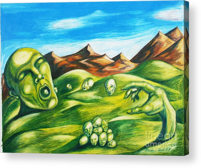 Green Surreal Landscape Acrylic Print featuring the drawing Food For Thought by Michael Cook