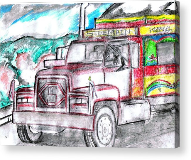 Trucks Acrylic Print featuring the drawing Haitian Travel by HPrince De Artist