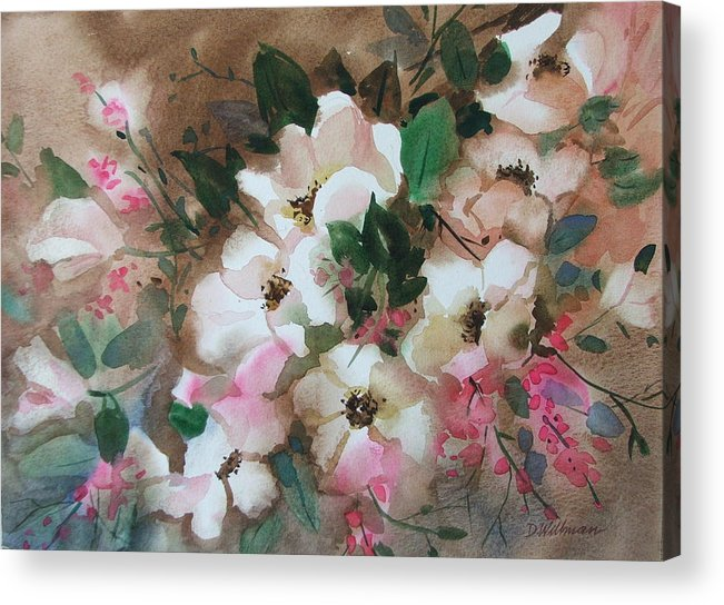 Spring Flowers Acrylic Print featuring the painting Hawthorne Beauties by Dianna Willman