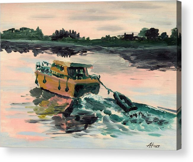 Boat Acrylic Print featuring the painting Heading Home by Alan Hogan