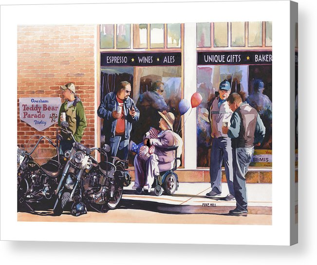 Motorcycles Bikes Hogs Bikers Harley Davidson Harleys Wheel Chair Teddy Bear  Acrylic Print featuring the painting Hilda Hogs And Harleys by Mike Hill