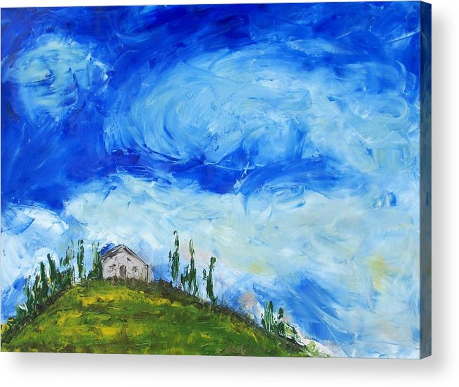 Landscape Acrylic Print featuring the painting House On The Hill by Craig Wade