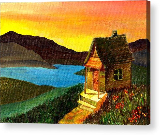 Acrylic Painting Acrylic Print featuring the painting Hut On Lake by Jennifer McDuffie