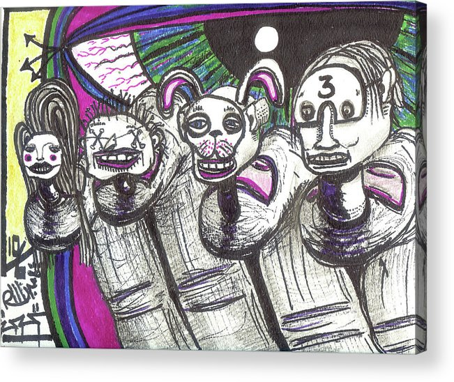 Rwjr Acrylic Print featuring the drawing Imaginary Friends by Robert Wolverton Jr