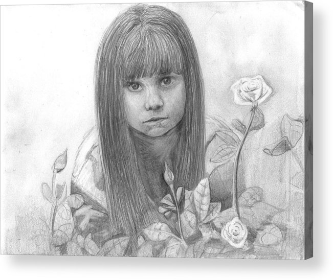 Little Girl Roses Acrylic Print featuring the drawing Innocence by Katie Alfonsi