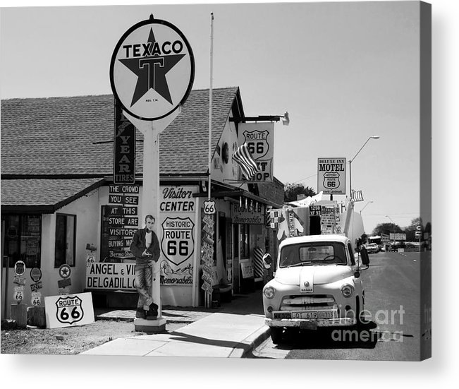 James Dean Acrylic Print featuring the photograph James Dean On Route 66 by David Lee Thompson