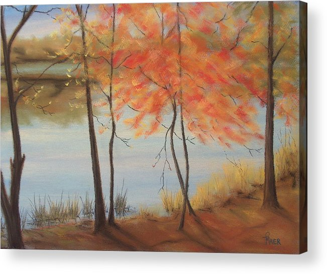 Fall Foliage Acrylic Print featuring the painting Lakeside Dancers IIII by Pete Maier