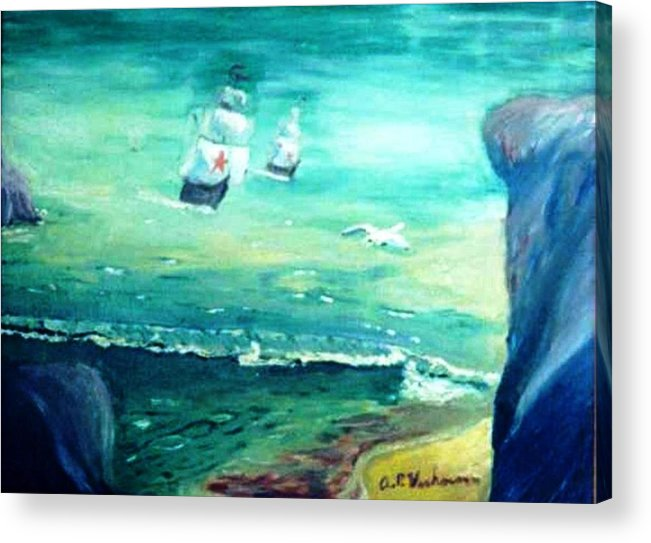 Fantasy Seascape Pre Columbus Nordic Explorers Acrylic Print featuring the painting Land Ahoy by Alfred P Verhoeven