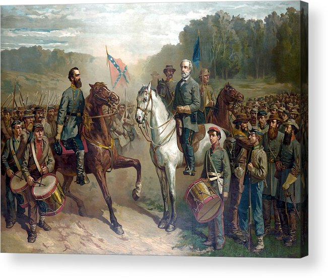 Robert E Lee Acrylic Print featuring the painting Last Meeting Of Lee And Jackson by War Is Hell Store