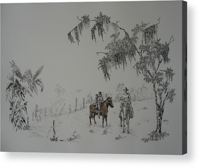 Landscape Acrylic Print featuring the drawing Leaving Home by Gloria Reyes Diaz