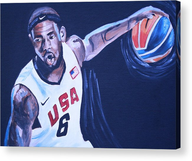 Basketball Paintings Acrylic Print featuring the painting Lebron James Portrait by Mikayla Ziegler