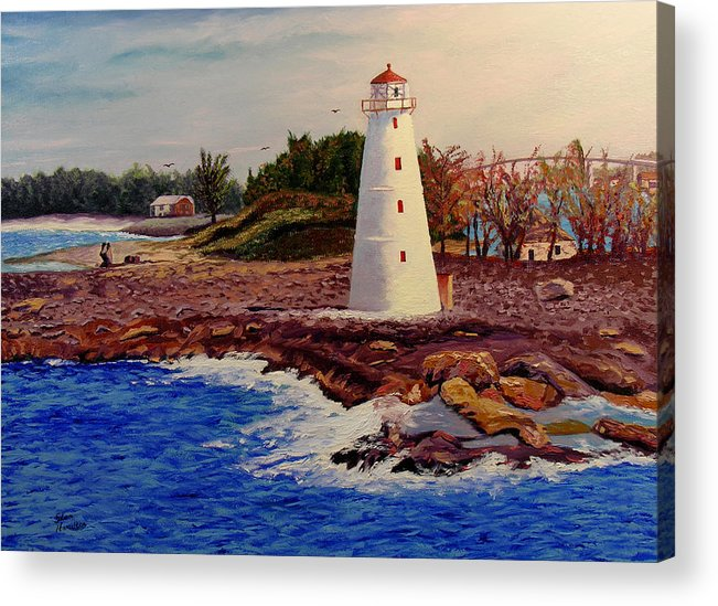 Original Oil On Canvas Acrylic Print featuring the painting Light House by Stan Hamilton