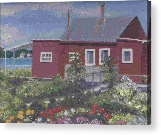 Seascape Acrylic Print featuring the painting Lobster Shack At Fenwick by Paula Emery