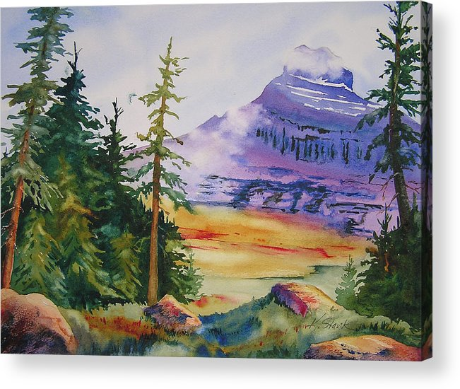 Landscape Acrylic Print featuring the painting Logan Pass by Karen Stark