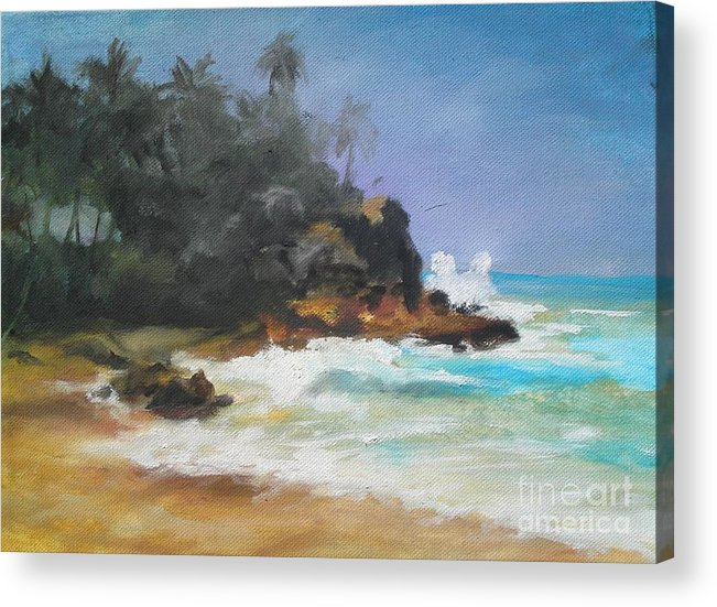 Seascape Acrylic Print featuring the painting Lonely Sea by Rushan Ruzaick