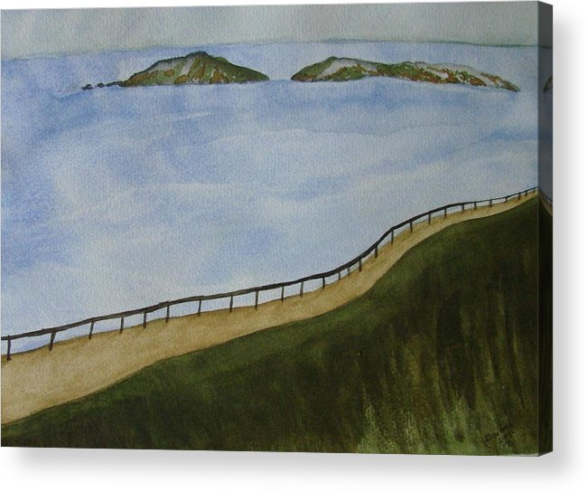 Landscape Acrylic Print featuring the painting Look To The Islands by Liz Vernand