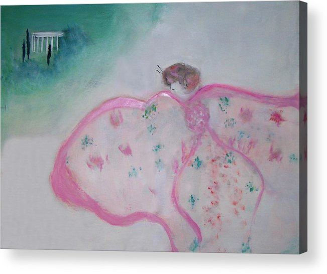 Fantasy Acrylic Print featuring the painting Madame Butterfly - Flight To Eterna by Michela Akers