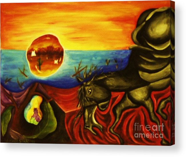 Surrealism Paintings Acrylic Print featuring the painting Melting Mammal by Jamey Balester
